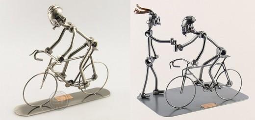 Metalen beeldje Wielrenner op zijn racefiets