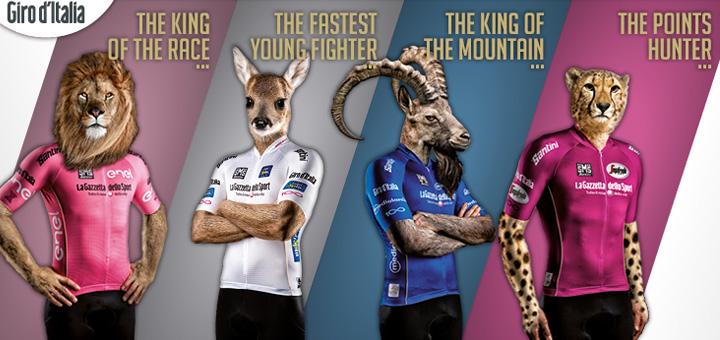 De Giro d'Italia 2017 leiderstruien van Santini