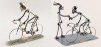 Metalen beeldje 'Wielrenner op zijn racefiets'