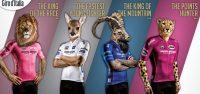 De Giro d'Italia 2017 leiderstruien van Santini (Giro100 collectie)